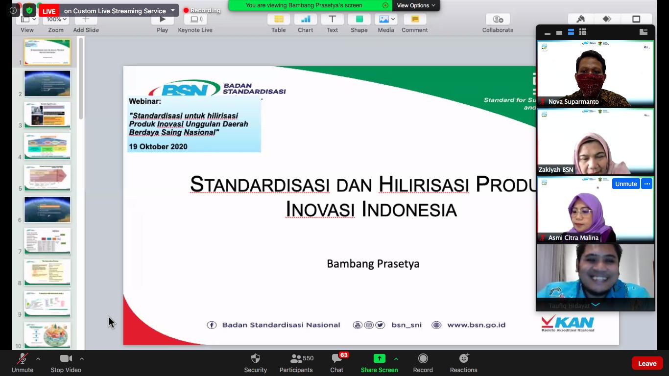 Webinar Standardisasi untuk Hilirisasi Produk Inovasi oleh BSN & Inovasi Teknologi Pandemi oleh INOTEK dengan Narasumber Astoetik